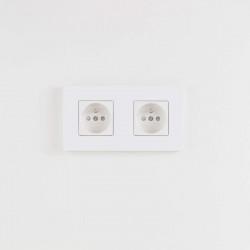 Розетка двойная white lacquer Aluminium
