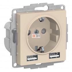 РОЗЕТКА A+A,+ 2 USB 5В/2,4А, 2х5В/1,2А, механизм, бежевый