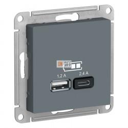 USB РОЗЕТКА A+С, 5В/2,4А, 2х5В/1,2А, механизм, грифель