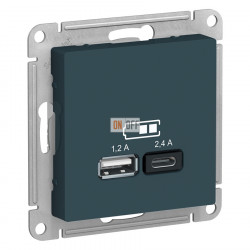 USB РОЗЕТКА A+С, 5В/2,4 А, 2х5В/1,2 А, механизм, изумруд