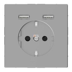 Розетка Schuko с 2 USB c зарядным устройством 2,4 A нержавеющая сталь