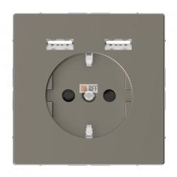 Розетка Schuko с 2 USB c зарядным устройством 2,4 A никель