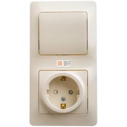 Блок: розетка с заземлением со шторками + 1-клавишный выключатель, бежевый