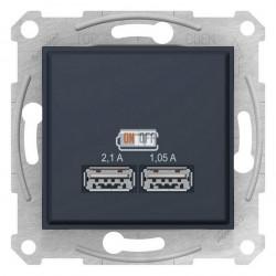 USB МЕХАНИЗМ зарядного устройства 2,1А (2x1,05А), цвет: графит