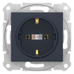 Розетка электрическая с заземлением, быстрозажимные клеммы 16А, Schneider Sedna, графит