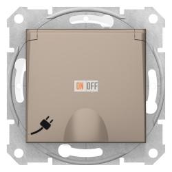 Розетка, IP44 со шторками, с крышкой, с заземлением, одинарная, безвинтовые клеммы, титан