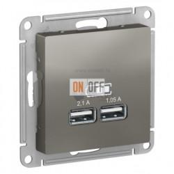 Розетка USB двойная для зарядки Schneider Electric Atlasdesign 2,1А, сталь