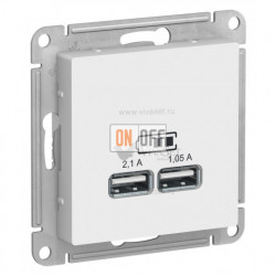 Розетка USB двойная для зарядки Schneider Electric Atlasdesign 2,1А, белый