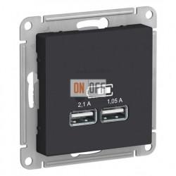 Розетка USB двойная для зарядки Schneider Electric Atlasdesign 2,1А, карбон