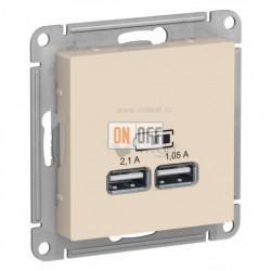 Розетка USB двойная для зарядки Schneider Electric Atlasdesign 2,1А, бежевый