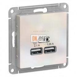 Розетка USB двойная для зарядки Schneider Electric Atlasdesign 2,1А, жемчуг