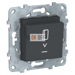 Карточный выключатель с подсветкой без задержки времени 10А/250 В~ Schneider Unica New, антрацит