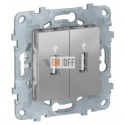 Розетка USB двойная для передачи данных Schneider Unica New, алюминий