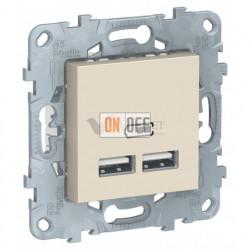 Розетка USB двойная для зарядки 2,1А Schneider Unica New, бежевый
