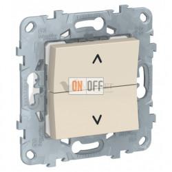 Кнопочный выключатель управления для жалюзи и рольставней 6А/250 В~ Schneider Unica New, бежевый