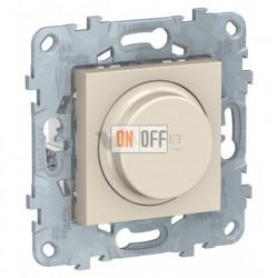 Cветорегулятор LED поворотно-нажимной универсальный 4-200 Вт, Schneider Unica New, бежевый