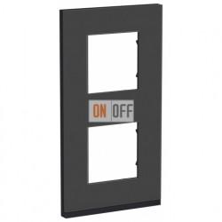Рамка двойная вертикальная Schneider Electric Unica Pure, черное стекло-антрацит