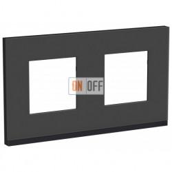 Рамка двойная Schneider Electric Unica Pure, черное стекло-антрацит