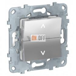 Кнопочный выключатель управления для жалюзи и рольставней 6А/250 В~ Schneider Unica New, алюминий
