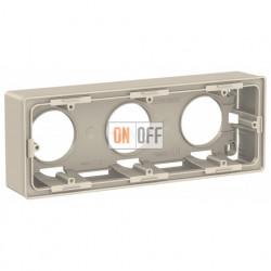 Трехместная коробка для накладного монтажа Schneider Electric Unica Studio, бежевый