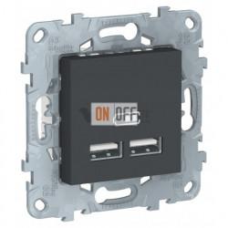 Розетка USB двойная для зарядки 2,1А Schneider Unica New, антрацит