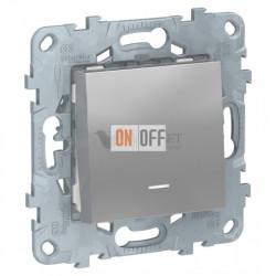 Кнопочный выключатель одноклавишный с подсветкой 10А/250 В~ Schneider Unica New, алюминий