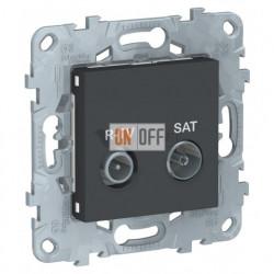 Розетка TV-R/SAT проходная, Schneider Unica New, антрацит