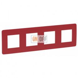 Рамка четверная Schneider Electric Unica Studio Color, красный-белый