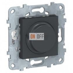 Cветорегулятор LED поворотно-нажимной универсальный 4-200 Вт, Schneider Unica New, антрацит