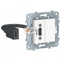 Розетка HDMI одинарная с выносным разъемом Schneider Unica New, белый