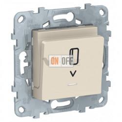 Карточный выключатель с подсветкой без задержки времени 10А/250 В~ Schneider Unica New, бежевый