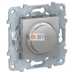 Cветорегулятор LED поворотно-нажимной универсальный 4-200 Вт, Schneider Unica New, алюминий