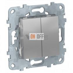 Переключатель двухклавишный на два направления (из 2-х мест) 10А/250 В~ Schneider Unica New, алюминий