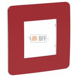 Рамка одинарная Schneider Electric Unica Studio Color, красный-белый
