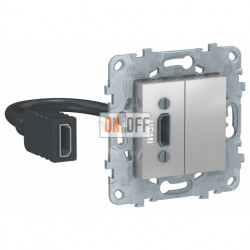 Розетка HDMI одинарная с выносным разъемом Schneider Unica New, алюминий