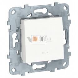 Кнопочный выключатель одноклавишный с подсветкой 10А/250 В~ Schneider Unica New, белый