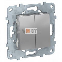 Выключатель двухклавишный 10А/250 В~ Schneider Unica New, алюминий