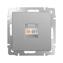 Интернет розетка одинарная Werkel 5 категории RJ-45, серебряный рифленый