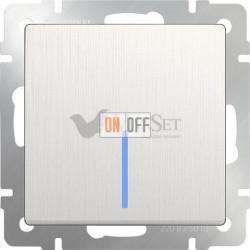 Выключатель одноклавишный с подсветкой Werkel 10A/250В, перламутровый рифленый
