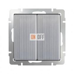 Выключатель двухклавишный проходной Werkel 10A/250В (из 2-х мест) глянцевый никель
