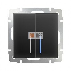 Выключатель двухклавишный с подсветкой Werkel 10A/250В черный матовый