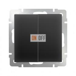Выключатель двухклавишный проходной Werkel 10A/250В (из 2-х мест) черный матовый