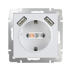Розетка с заземлением шторками и USBх2 Werkel 16A/250В, винтовой зажим, белый