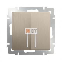 Выключатель двухклавишный проходной с подсветкой Werkel 10A/250В (из 2-х мест), шампань рифленый