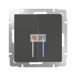 Выключатель двухклавишный проходной с подсветкой Werkel 10A/250В (из 2-х мест), серо-коричневый