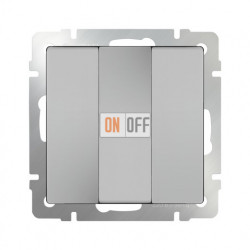 Выключатель трехклавишный Werkel 10A/250В серебряный