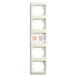 Рамка пятерная для вертикального монтажа Alpha Exclusive кремовый глянцевый 1754-0-4154
