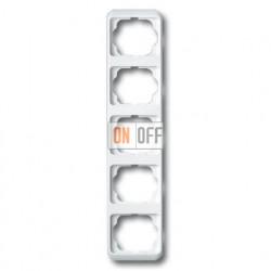 Рамка пятерная для вертикального монтажа ABB Alpha Nea белый глянцевый 1754-0-2833