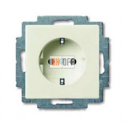 Розетка с заземлением с безвинтовыми зажимами ABB Basic 55, шале-белый 2011-0-6144