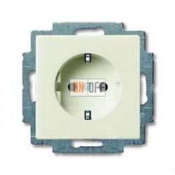 Розетка с заземлением со шторками с безвинтовыми зажимами ABB Basic 55, шале-белый 2013-0-5339